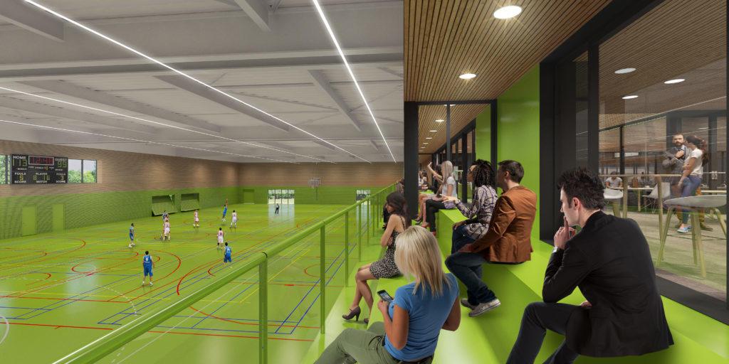 Impressie nieuwbouw sporthal De Pelikaan